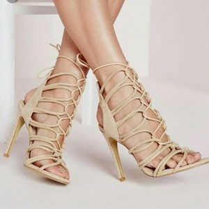 Misguided Rope laced up heeled sandals